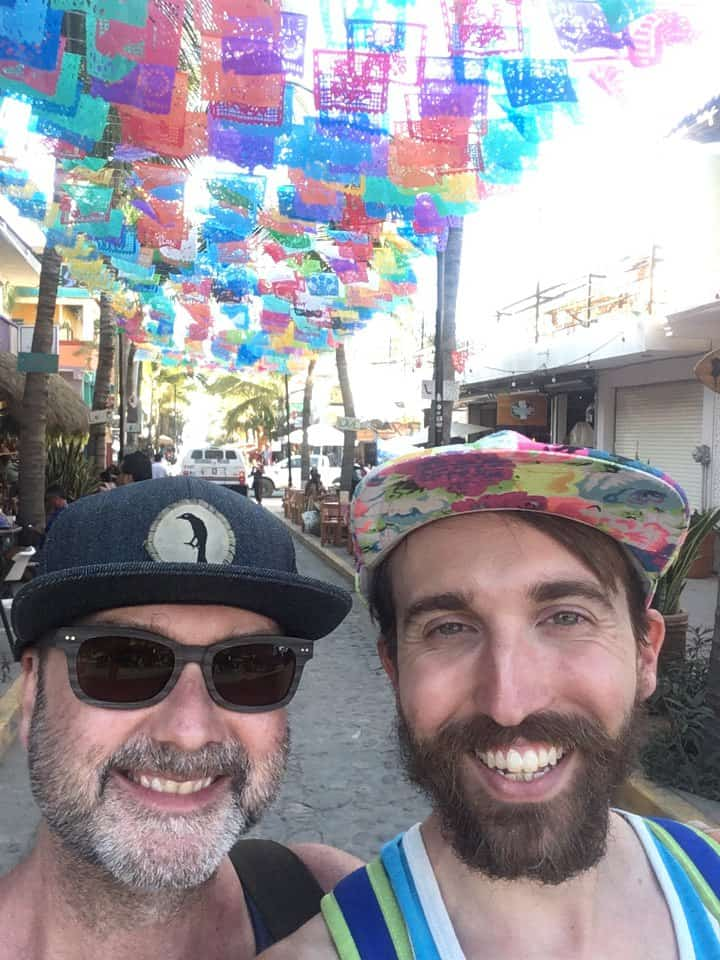 Papel picado over our heads in Mexico.